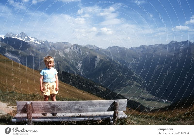 summiteers Girl Child Hiking Small Large Clouds Alpine pasture Vacation & Travel Completed Peak Slide Horizon Panorama (View) Brave Recklessness Stand Physics