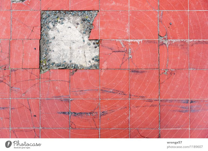 jigsaw Terrace Tile Floor covering Paving tiles Stone Line Stripe Old Dirty Sharp-edged Hideous Historic Broken Retro Red Defective Ancient Square Puzzle