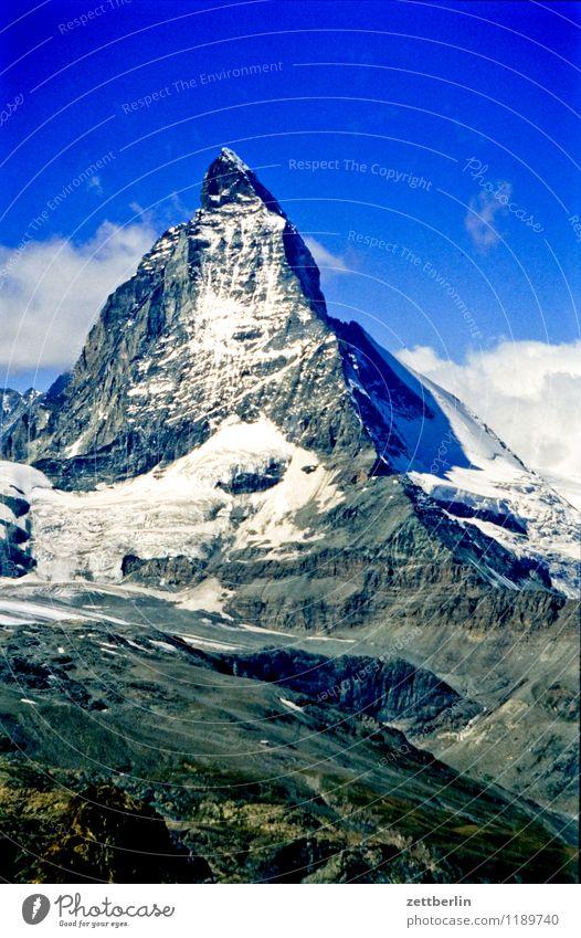 Switzerland (5) Matterhorn Eiger Mountain High mountain region Rock Massive Far-off places Fog Haze Vacation & Travel Travel photography Tourism Alps Sparse