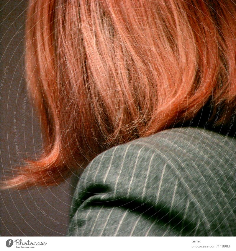 streak-horned Hair and hairstyles Red Red-haired Pinstripe Jacket Woman Feminine Disheveled Eye-catcher Shoulder Concentrate Clothing foxy uncombed hollowed