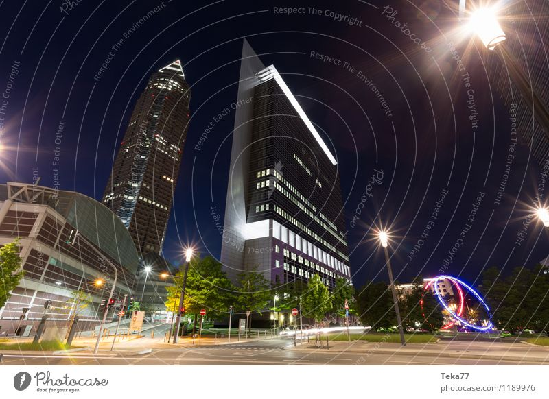 FRANKfurt MEsse - At night Design Office Business Technology Frankfurt Town Downtown Skyline Deserted High-rise Facade Tourist Attraction