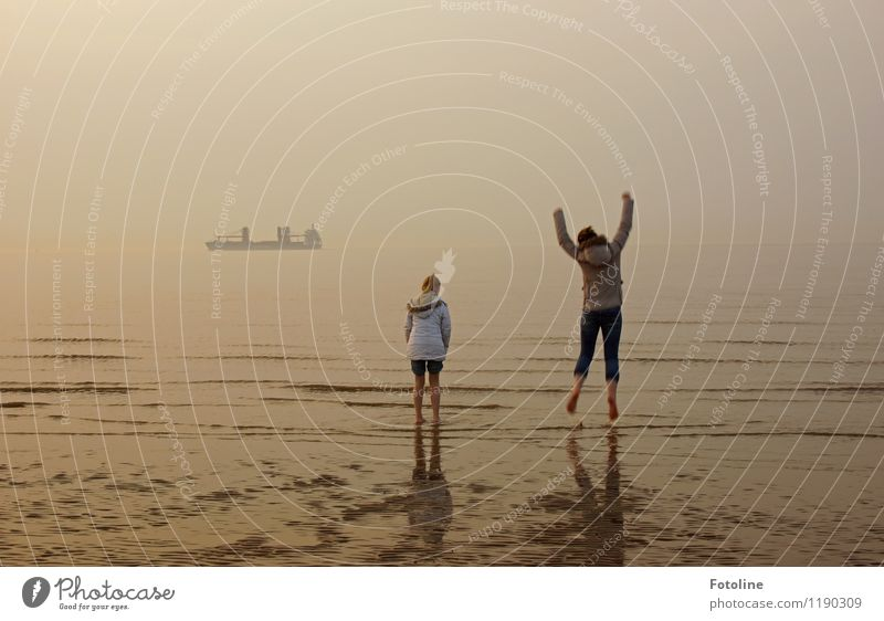 Cold? Anyway, just barefoot through the mudflats! Human being Feminine Child Girl Brothers and sisters Infancy 2 Environment Nature Landscape Sky Cloudless sky