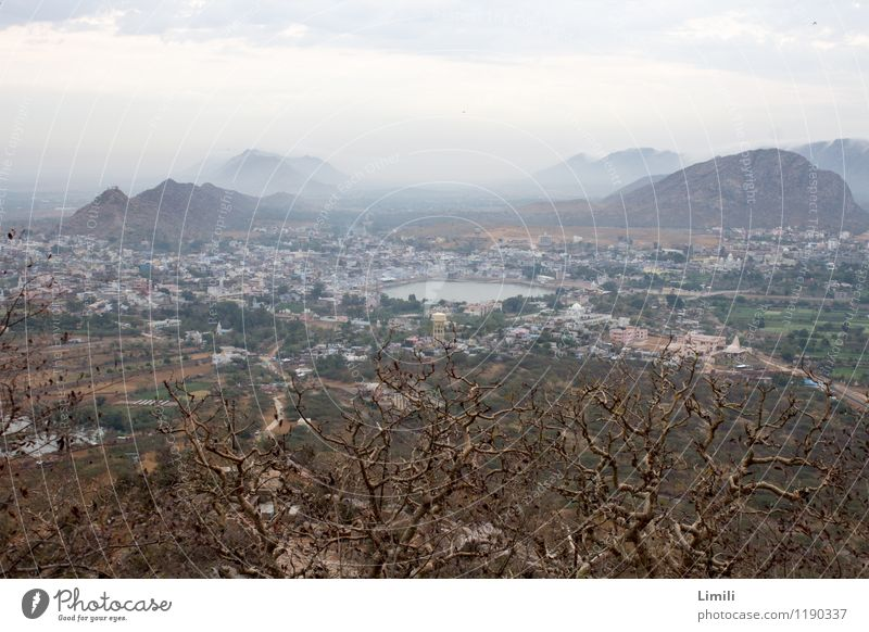 Lake Pushkar from above Relaxation Calm Meditation Adventure Far-off places Mountain Nature Landscape Water Fog Hill Lakeside Desert India Asia Town Populated