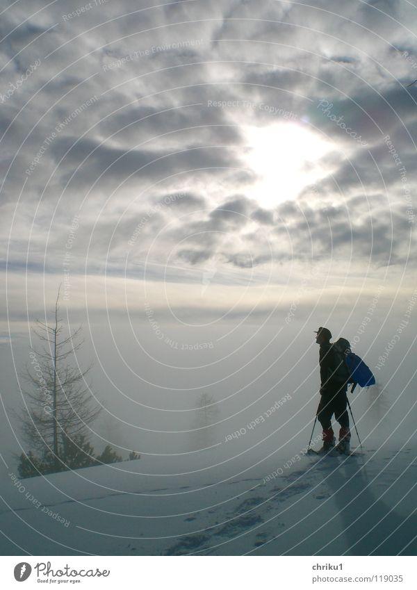 Fog_still_2 Mountaineering Hiking Snow shoes Man High fog Calm Loneliness Clouds Winter sports Snow track Alps Human being log yoke Climbing Zipfelbob
