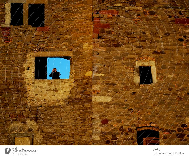 Please smile out loud Saxony-Anhalt Photographer Camera Take a photo Vantage point Window Wall (barrier) Robust Derelict Monument Preservation of historic sites