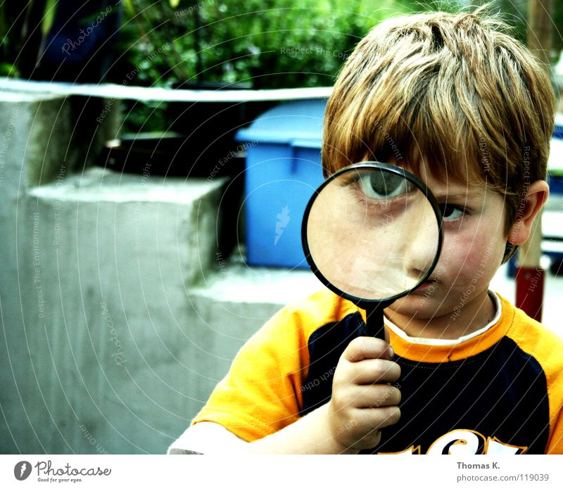Through The Looking Glass Joy Reading Child Student Technology Science & Research Advancement Future Boy (child) Infancy Eyes Hand Stairs Magnifying glass