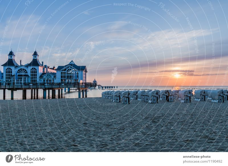 Sellin in the morning Vacation & Travel Tourism Sightseeing Summer Summer vacation Beach Sand Clouds Sunrise Sunset Spring Coast Lakeside Baltic Sea