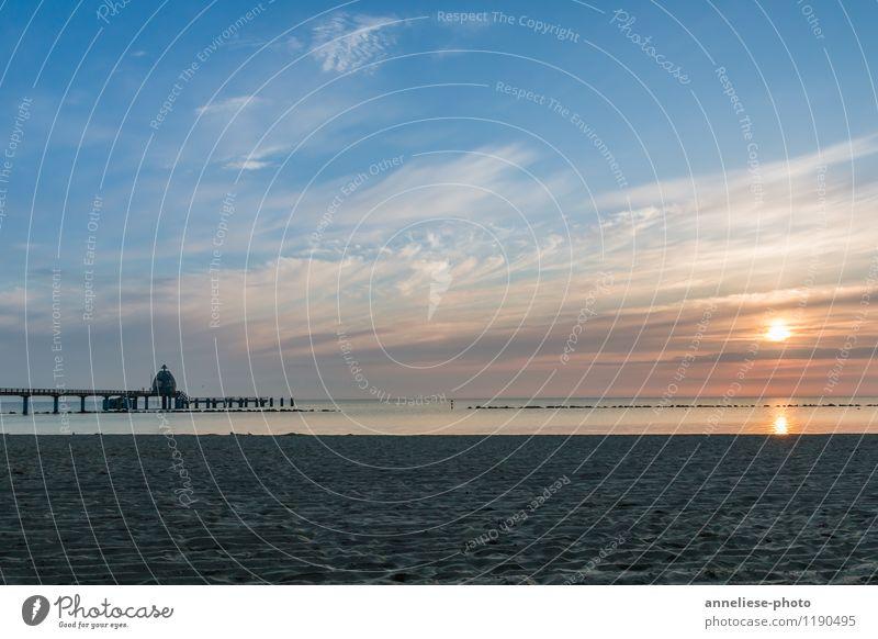 sunrise Vacation & Travel Tourism Summer vacation Beach Ocean Sand Sky Clouds Sunrise Sunset Coast Baltic Sea Tourist Attraction Horizon Sellin Sea bridge