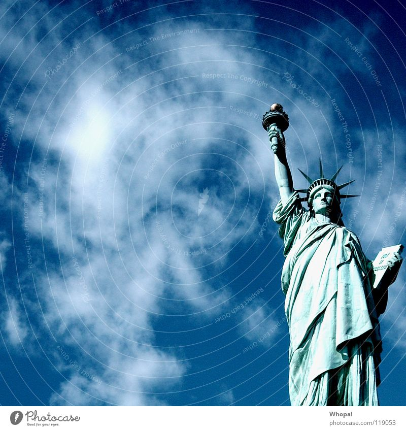 Sky White Sun Blue Clouds Freedom New York Monument Landmark New York City Statue of Liberty Manhattan