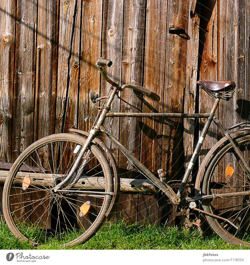 Old Green Playing Grass Wood Brown Bicycle Orange Art Trust Derelict Scrap metal Wooden wall Arts and crafts  Trash Bicycle handlebars