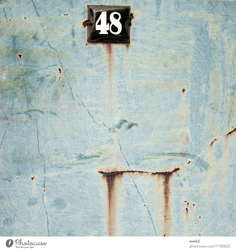 48 Crash Metal Rust Digits and numbers Old Turquoise Ravages of time Transience House number Number plate Crack & Rip & Tear Damage Tracks Derelict Colour photo