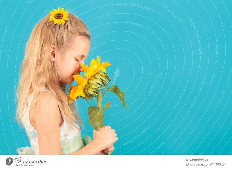 Smell of summer Beautiful Summer Child Girl 8 - 13 years Infancy Blossom Dress Blonde Small Blue Yellow cheerful Horizontal one spring Sunflower young smell