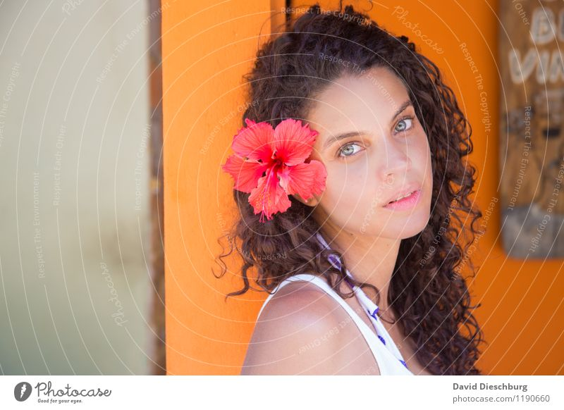 Human being Woman Vacation & Travel Youth (Young adults) Beautiful Flower Far-off places 18 - 30 years Adults Face Wall (building) Blossom Feminine