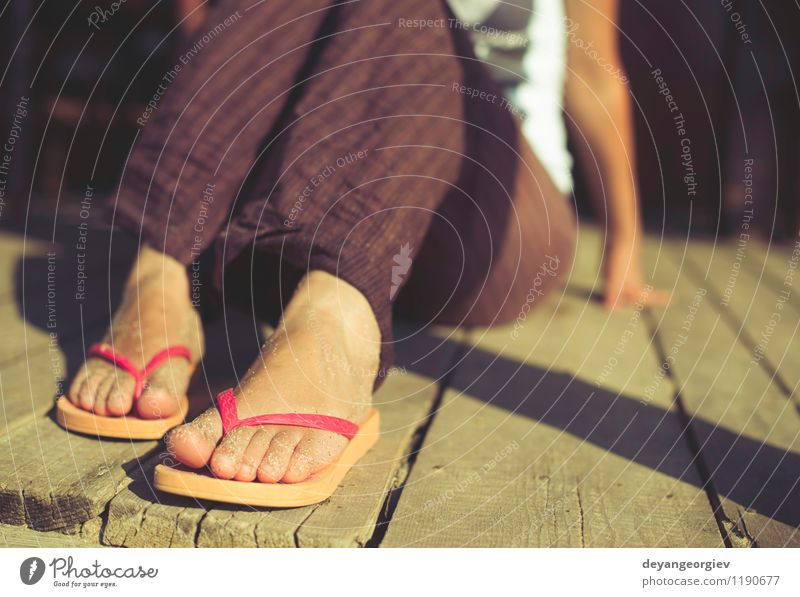 Foot in thongs Woman Vacation & Travel Blue Summer White Relaxation Ocean Red Joy Beach Adults Feet Sand Leisure and hobbies Waves Footwear