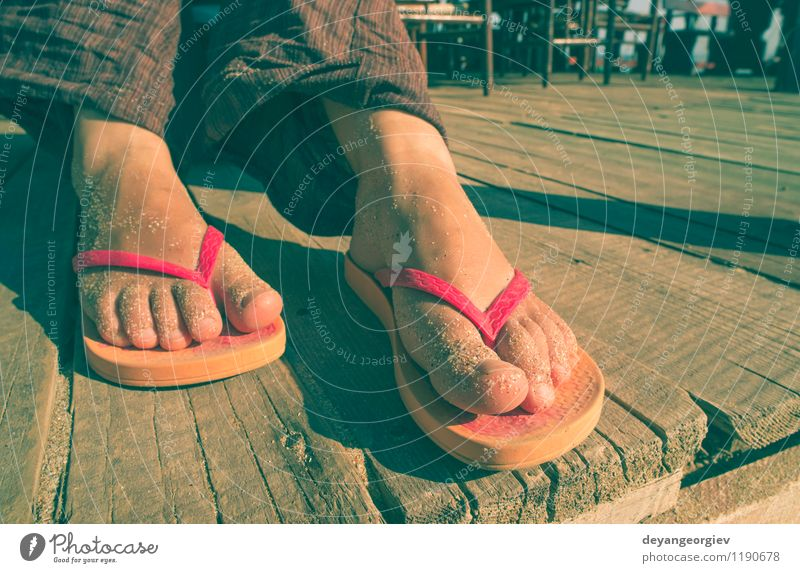 357581a887b1c Foot in thongs Woman Vacation   Travel Blue Summer White Relaxation Ocean  Red Joy Beach Adults
