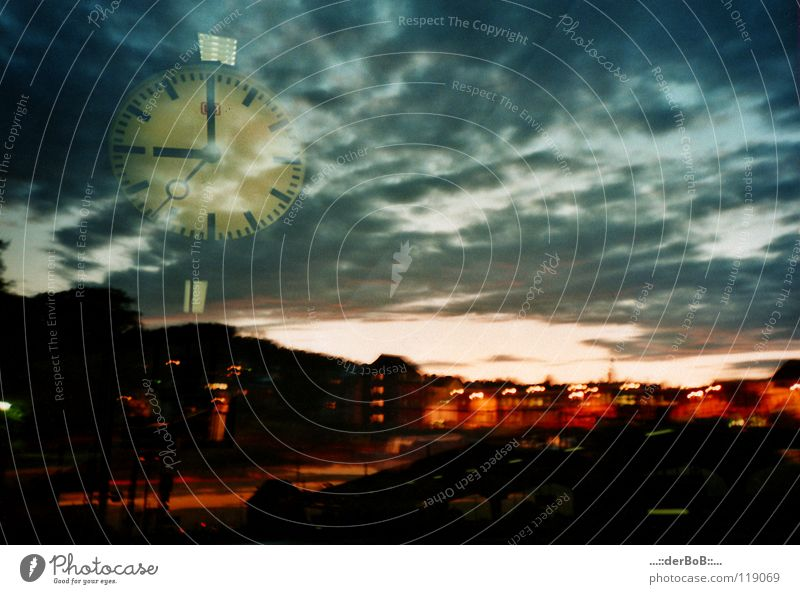Sky Blue City Colour Clouds House (Residential Structure) Movement Architecture Time Art Orange Clock Transport Digits and numbers Eternity Logistics