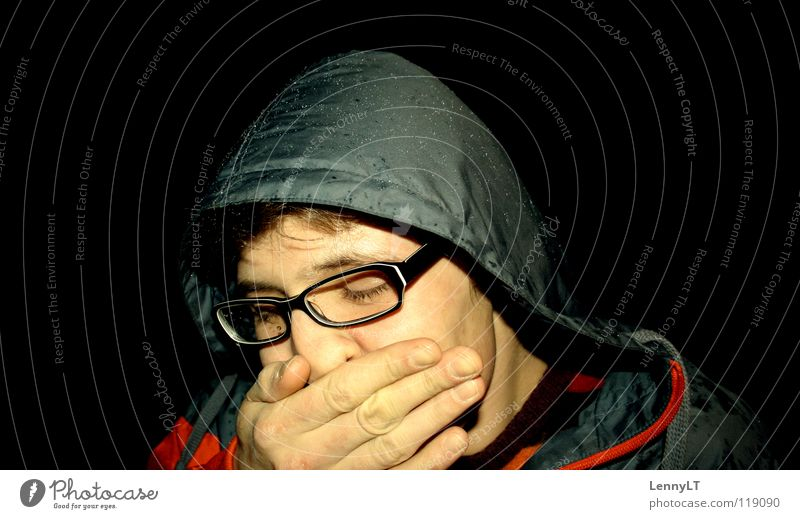 BLEARY-EYED Portrait photograph Person wearing glasses Eyeglasses Hooded (clothing) Anorak Jacket Man Fellow Fatigue Completed Night Rain Yawn Black Club