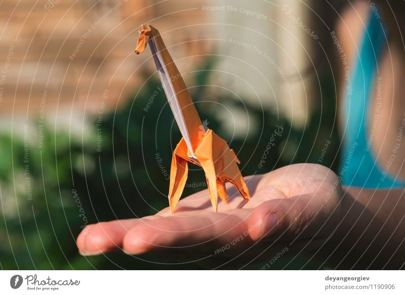 Origami orange color giraffe Design Joy Playing Vacation & Travel Tourism Safari Decoration Craft (trade) Hand Art Zoo Nature Animal Park Paper Toys Natural