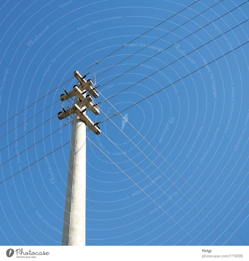 energy crossing Energy industry Electricity Electricity pylon Wire Large Vertical Stand Length Across Long Thin Concrete Connect Gray Cross Electrical equipment