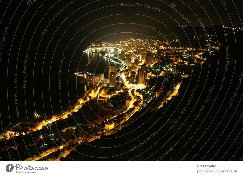Monaco at night Night Long exposure Cote d'Azur Monarchy Town Ocean France Light Mediterranean sea Night shot principality Casino