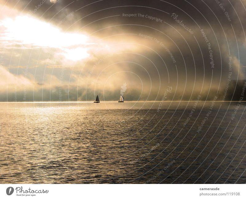 Ammersee 24h Regatta Sunrise Sailing Fog Lake Lake Ammer Clouds Sailboat Sky