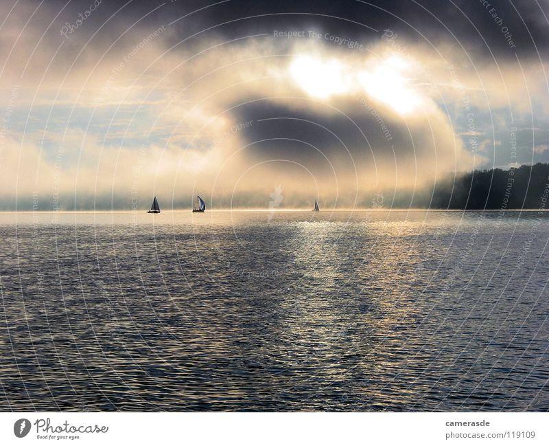 Water Clouds Lake Fog Sailing Sailboat Watercraft Sunrise Lake Ammer