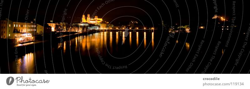 Passau @ night Bavaria Town Niederbayern Catholicism Flow Reflection Promenade Dark Night Bright Panorama (View) House of worship Bridge Lower Bavarian