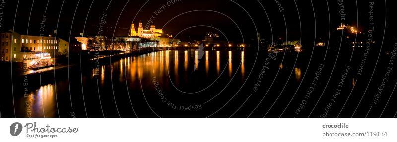 Water City Dark Lanes & trails Bright Religion and faith Coast Bridge River Bavaria Dome Flow Panorama (Format) Promenade Monastery House of worship