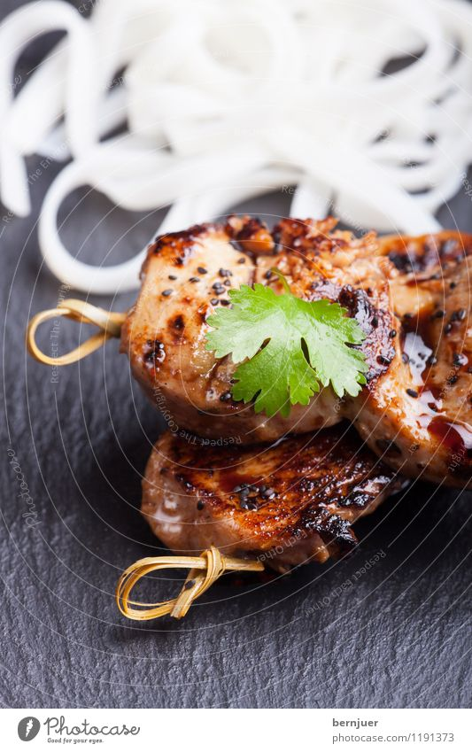 teriyaki Food Meat Nutrition Organic produce Asian Food Eating Cheap Good Brown Black White Debauchery speared fryers Coriander Bamboo Noodles rice noodle
