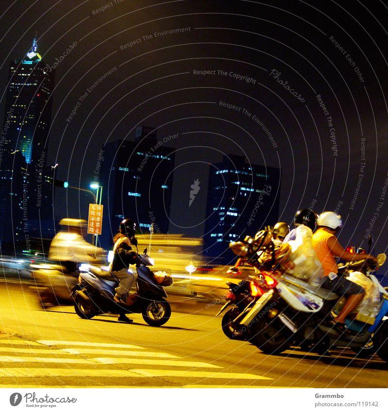traffic light rally Scooter Night Dark Yellow Helmet High-rise Transport Street Mixture Beginning