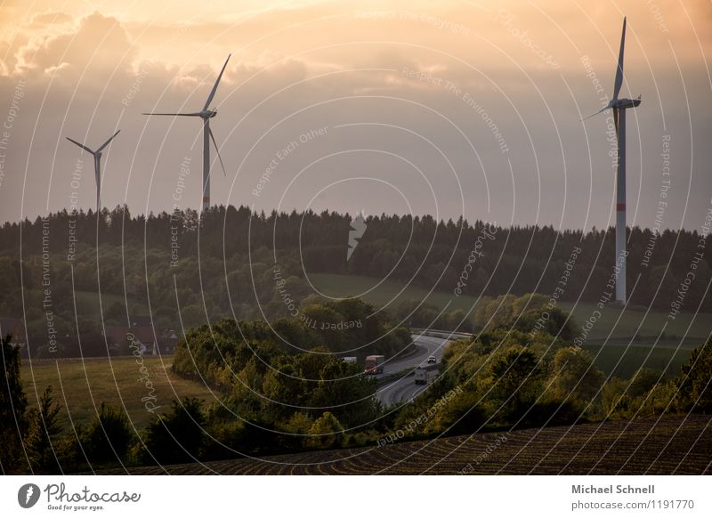 A45 Technology Wind energy plant Environment Nature Sky Clouds Spring Meadow Field Hill Transport Traffic infrastructure Highway Vehicle Sustainability
