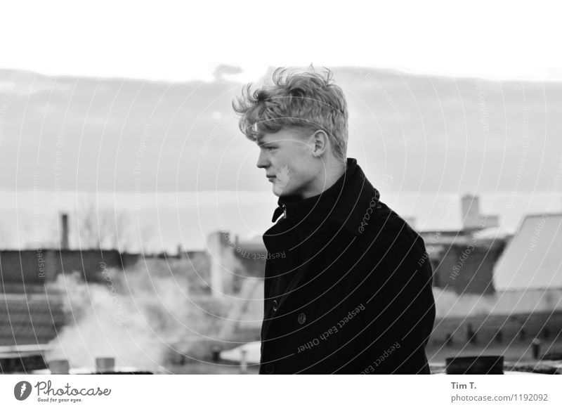 Human being Youth (Young adults) Loneliness Young man 18 - 30 years Adults Berlin Germany Masculine Roof Longing European Capital city Chimney