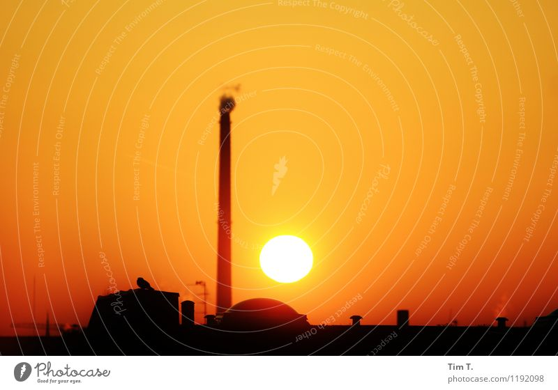 Night Berlin Capital city Downtown Old town Skyline Industrial plant Kitsch Climate Environment Chimney Winter Colour photo Exterior shot Copy Space left