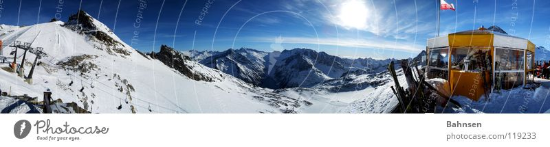 Sun Winter Far-off places Landscape Mountain Skiing Skis Hut Panorama (Format) Snowboard Austria Winter sports Snowcapped peak Blue sky Federal State of Tyrol Winter vacation