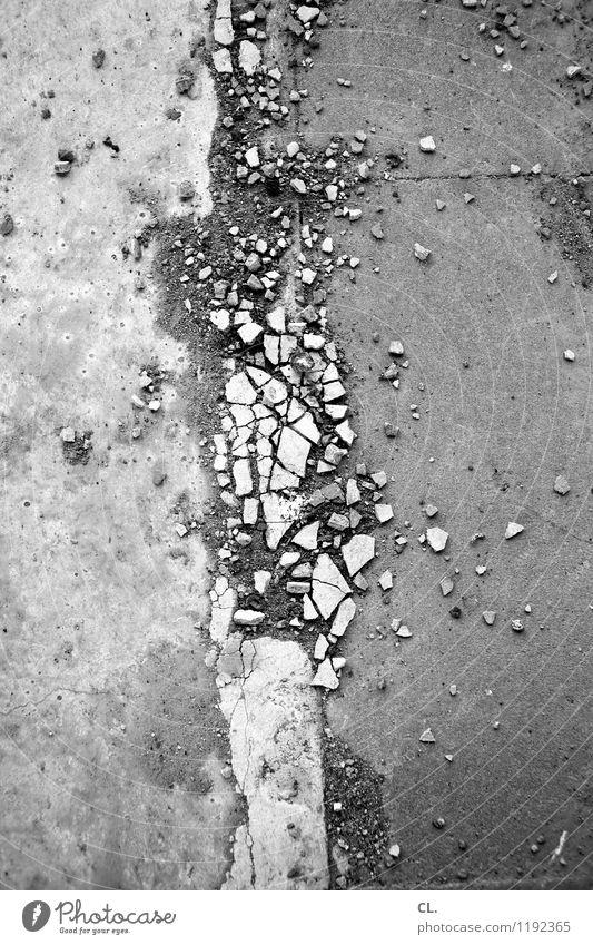 DISSOLUTION Transport Traffic infrastructure Street Lanes & trails Ground Stony Stone Dirty Sharp-edged Broken Decline Destruction Black & white photo