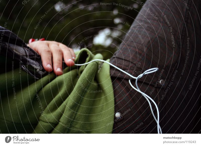 sure instinct Green Fingers Hand Pants Pattern White Bend Headphones Scarf Black Sweater Curls Buttons Bag Trouser pocket Cable Loneliness Checkered