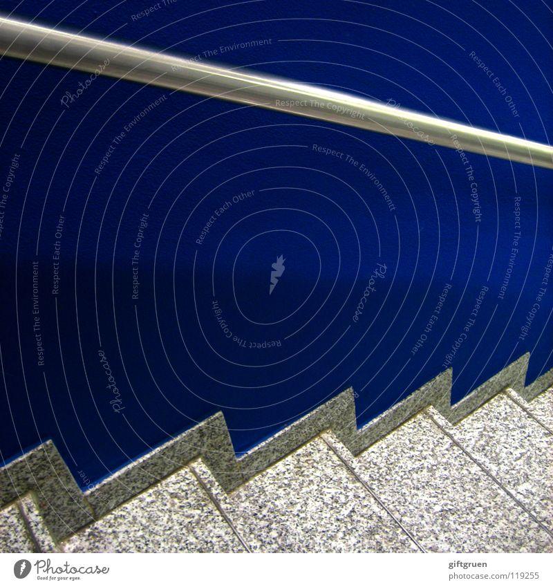 Blue Wall (building) Stone Metal Stairs Modern Upward Ascending Hallway Handrail Downward Staircase (Hallway)