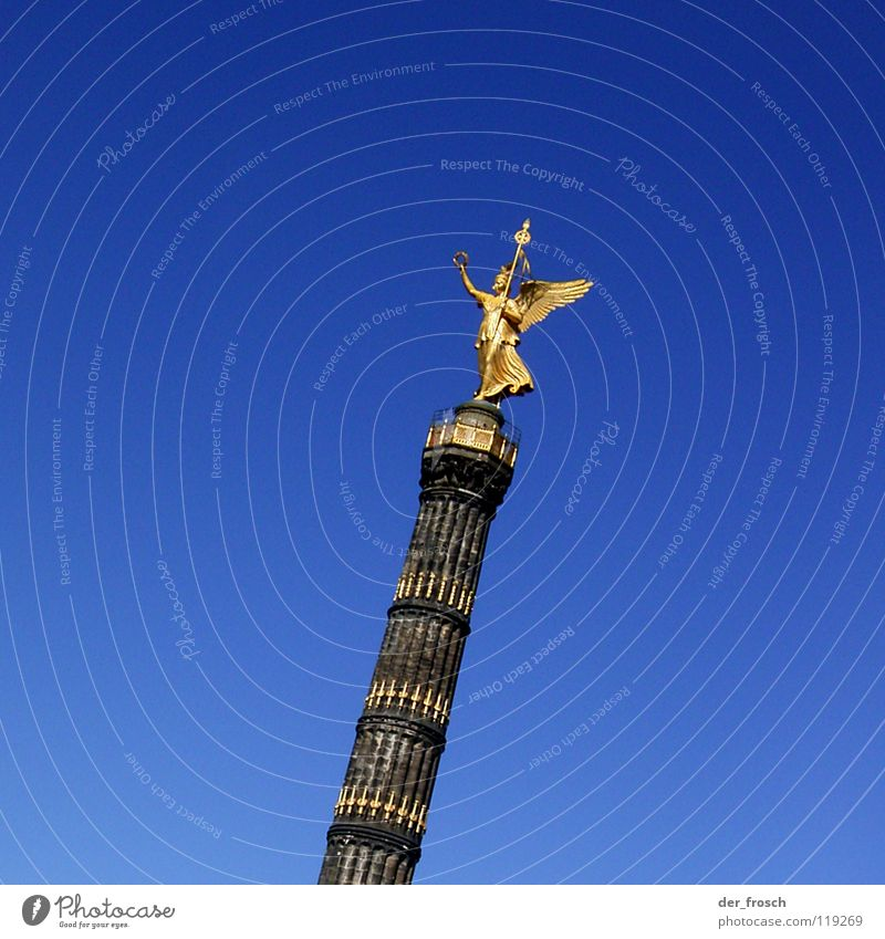 Blue Berlin Glittering Gold Monument Historic Traffic infrastructure Column Denmark Berlin zoo Victory column