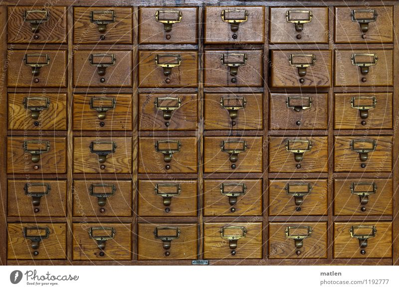 pigeonhole thinking Workplace Office Container Wood Old Sharp-edged Brown Arrangement Cupboard Brass plaque Digital File Drawer Index card data retention