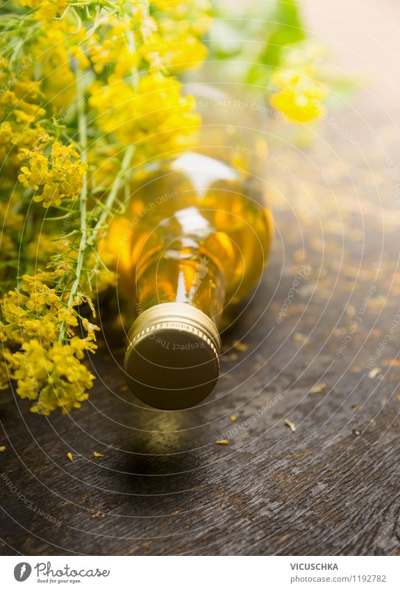rapeseed oil Food Cooking oil Nutrition Style Design Healthy Eating Life Plant Blossom Agricultural crop Oilseed rape oil Bottle Oilseed rape flower Fresh