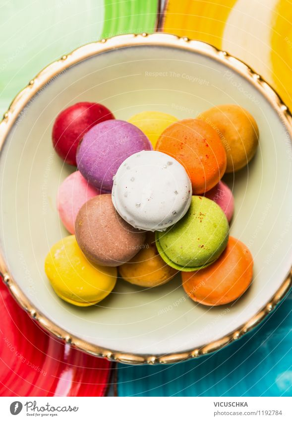 Colourful Macarons Dessert Candy Chocolate Nutrition Style Design Baked goods Cookie France Kitchen Plate Multicoloured Beautiful Delicious patisserie Crisp