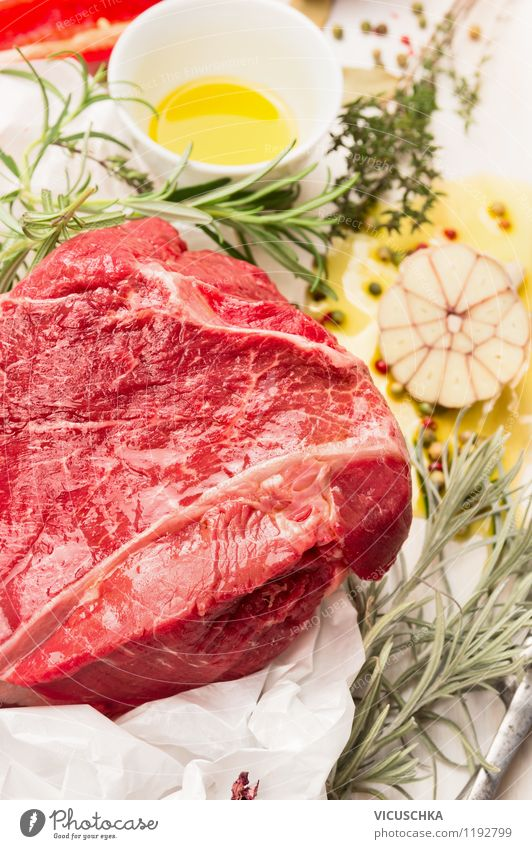Make meat marinade with fresh herbs Food Meat Herbs and spices Cooking oil Nutrition Dinner Banquet Organic produce Bowl Style Design Healthy Eating Life Table