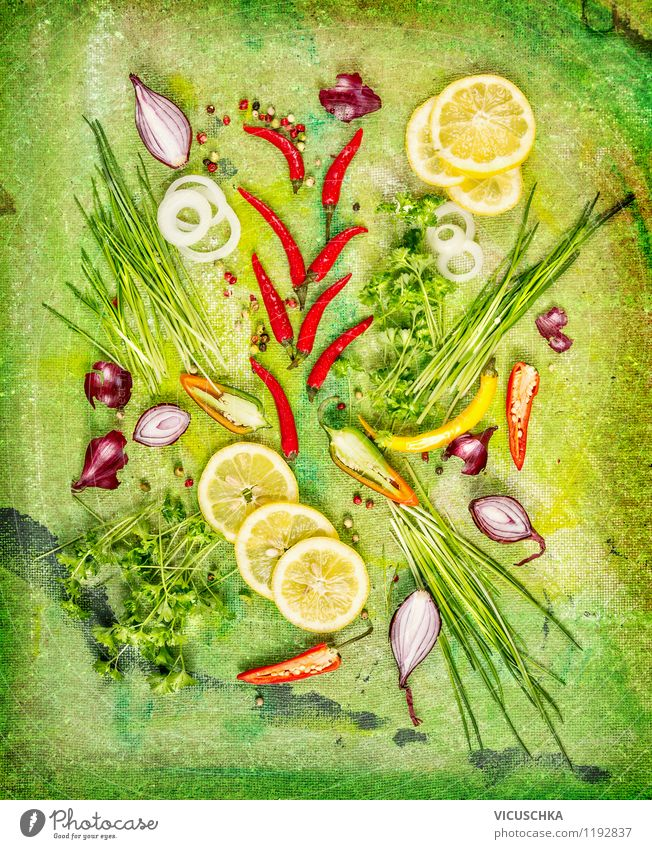 Fresh herbs and spices with lemon slices Food Vegetable Lettuce Salad Herbs and spices Nutrition Organic produce Vegetarian diet Diet Style Design