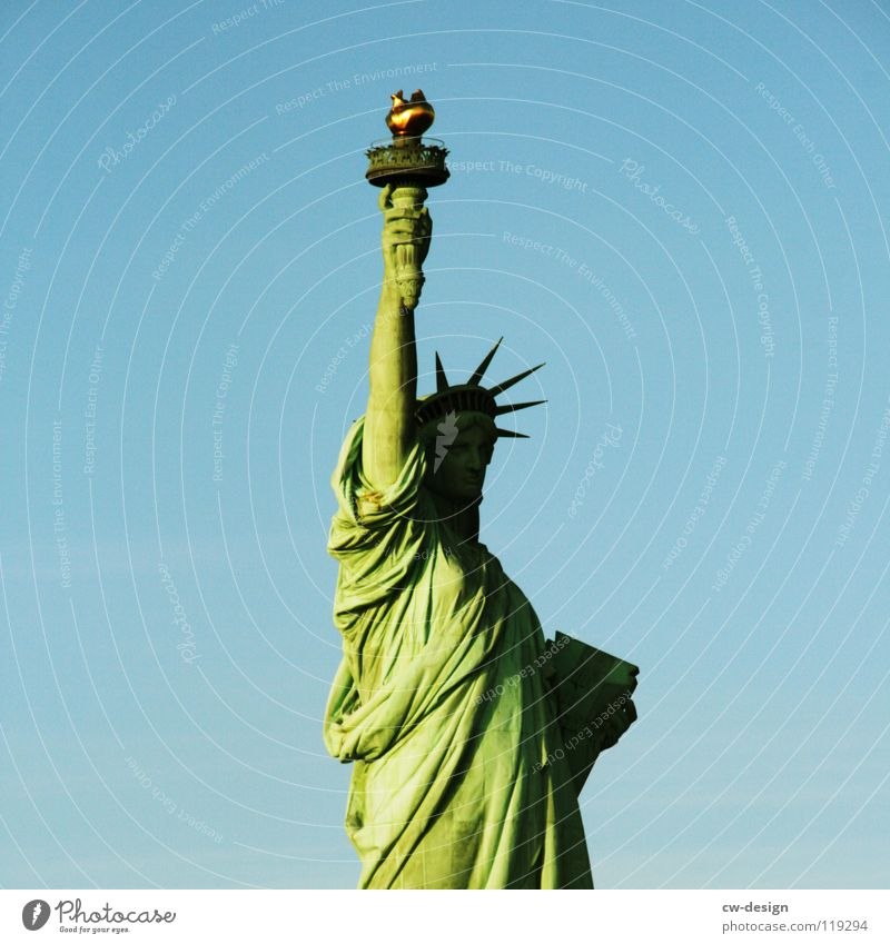 BEDLOE'S ISLAND? New York City Statue Welcome France USA Completion Minimalistic Isolated Image Patina Green Americas Costume Inscription Tall Right Hand