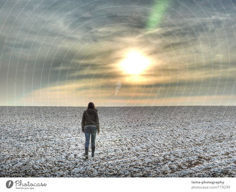 Woman Sky Sun Loneliness Clouds Far-off places Winter Sadness Lanes & trails Snow Going Horizon Field Ice Hiking Gloomy