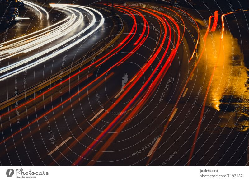Turn on night light Berlin Traffic infrastructure Motoring Street Illuminate Dark Wet Town Many Red Disciplined Time Colour photo Subdued colour Exterior shot