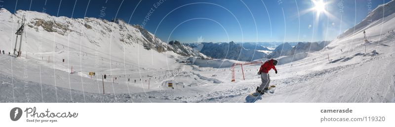 Sun Winter Mountain Snow Germany Beautiful weather Alps Snowcapped peak Panorama (Format) Ski resort Snowscape Ski run Snowboarding Bavaria Snowboarder