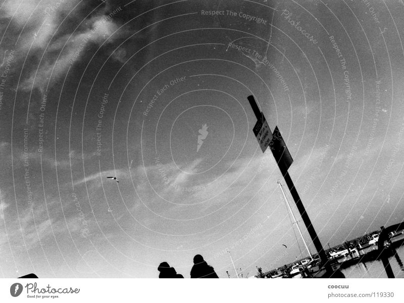 Analog Black White Gray scale value Footbridge Harbour entrance Clouds Patina Photography Black & white photo Baltic Sea To go for a walk Sky Signs and labeling