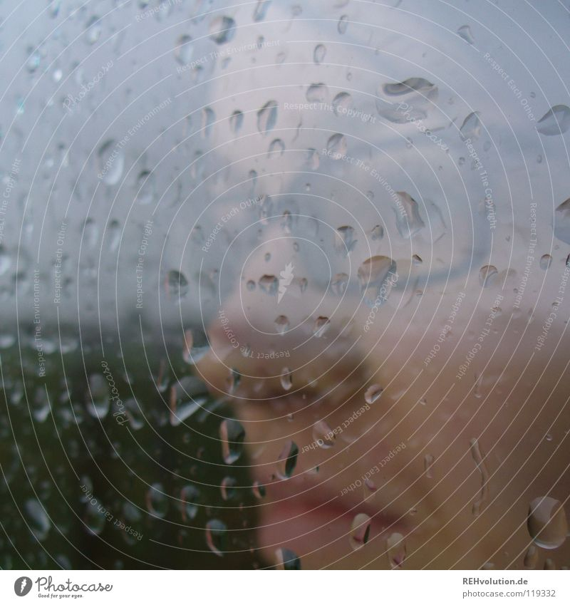 great weather! Rain Look out Grief Bad weather Reflection Looking Moody Dark Damp Wet Future Vantage point Eyeglasses Woman Facial expression Strand of hair