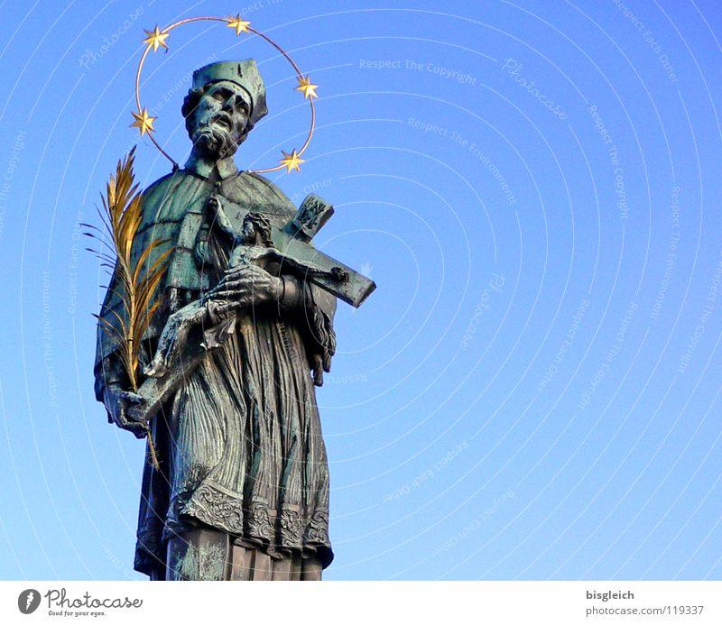 Human being Sky Man Blue Adults Religion and faith Gold Bridge Europe Christian cross Monument Landmark Sculpture Holy Crucifix Capital city